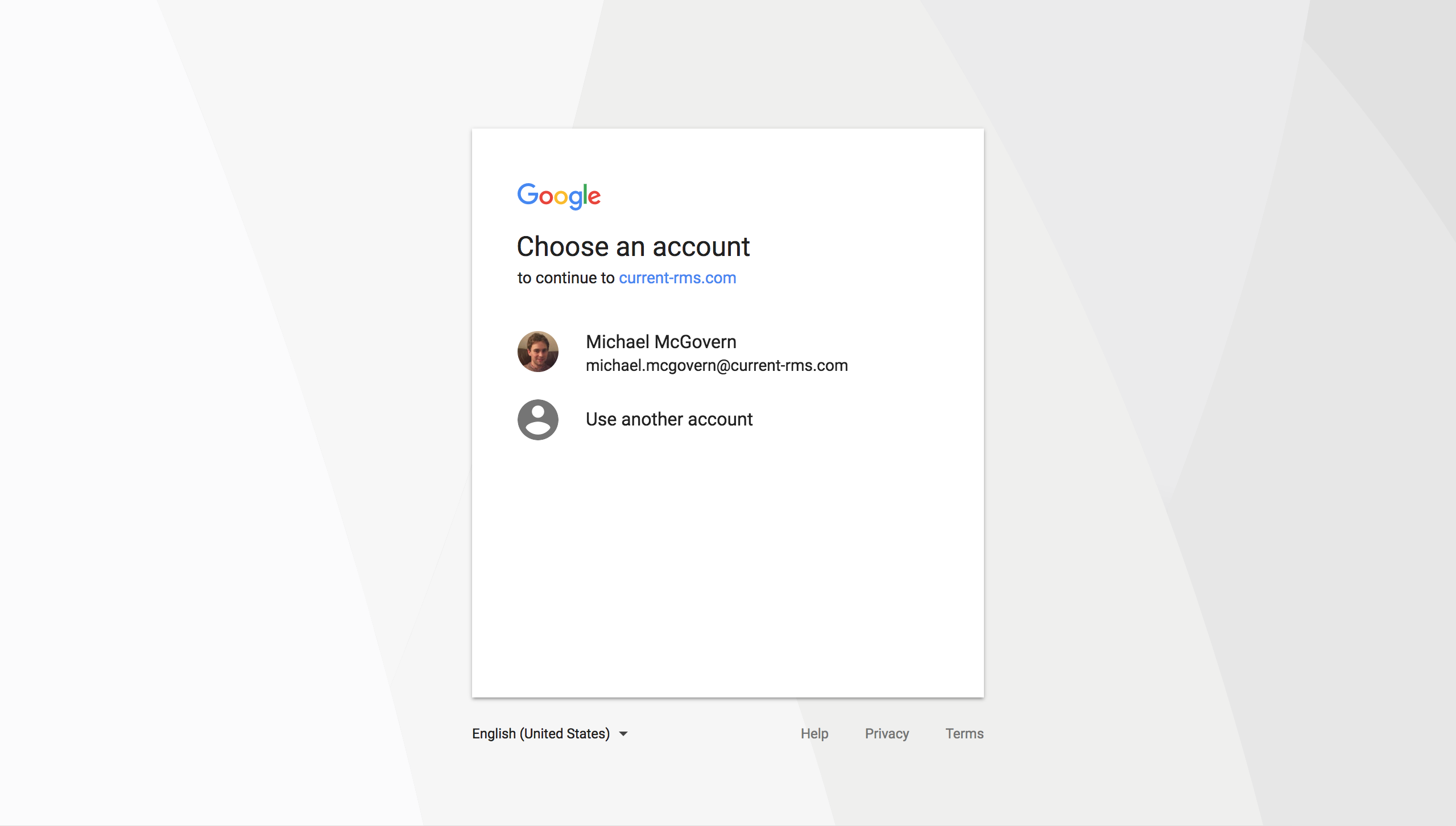 Sign in to Current RMS using your Google or Microsoft account