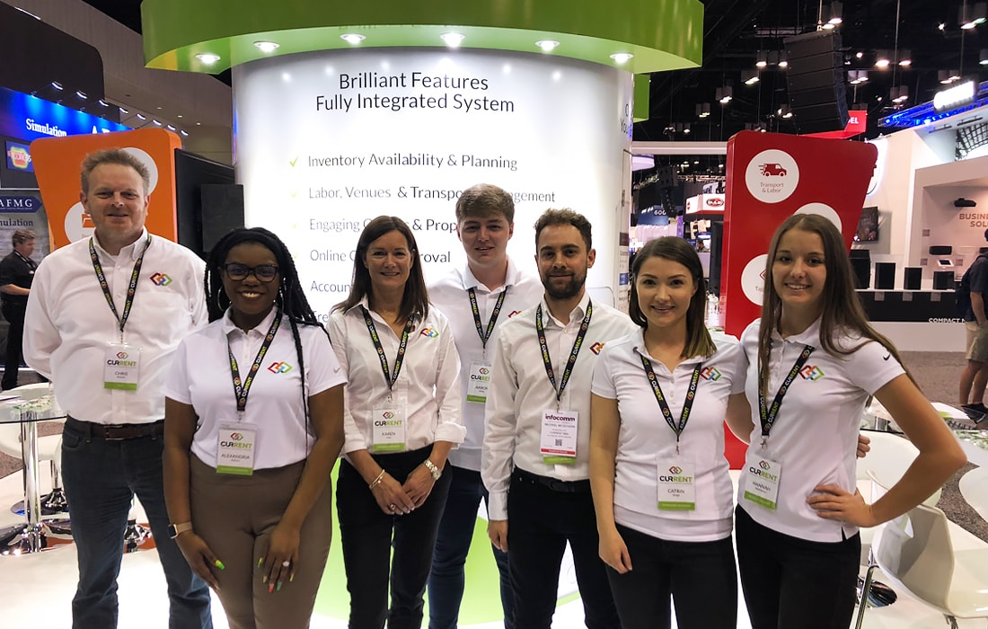The Current RMS team on booth #6749, ready for the first day of InfoComm