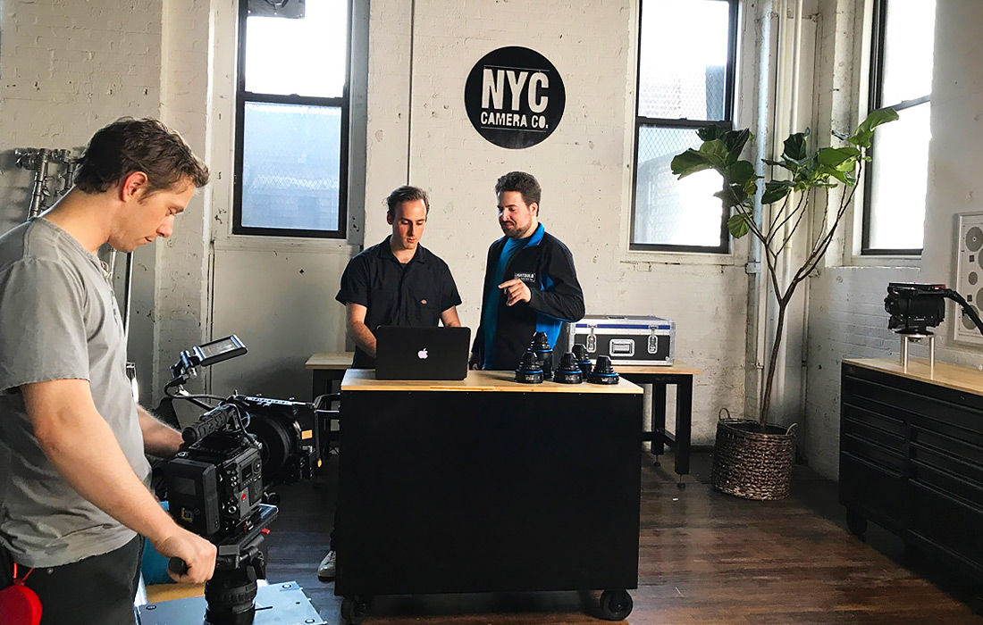 Adam from Lightbulb Grip showing a member of New York City Camera Company the ropes in Current RMS