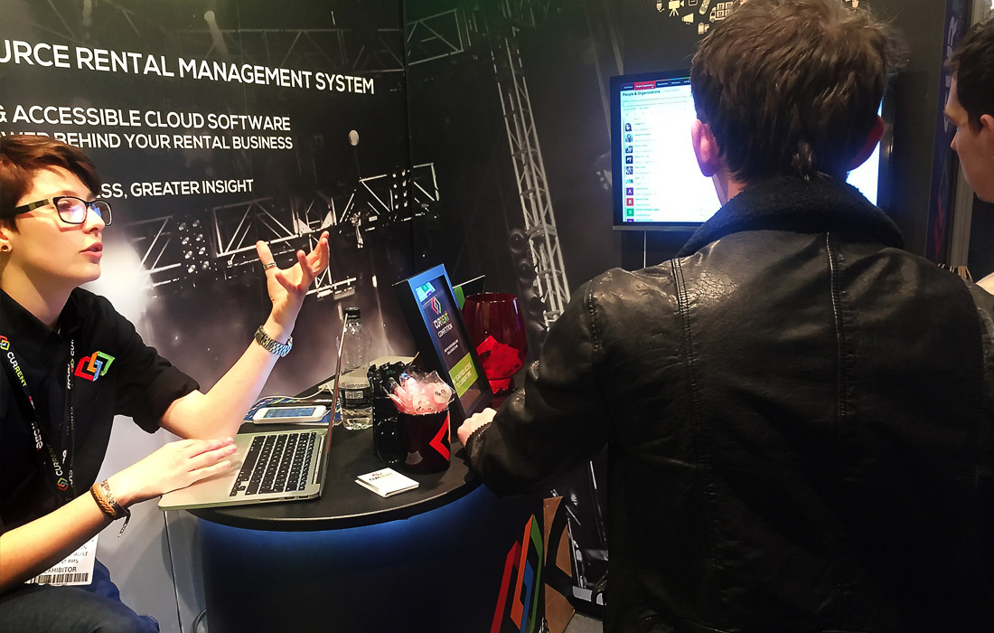 Leigh demonstrating Current at PLASA Focus Leeds