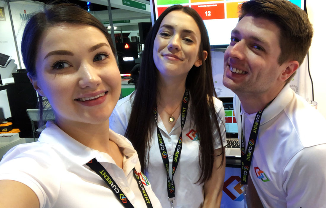 Matt, Charlotte and Catrin on Day 1 of Plasa Focus Leeds.