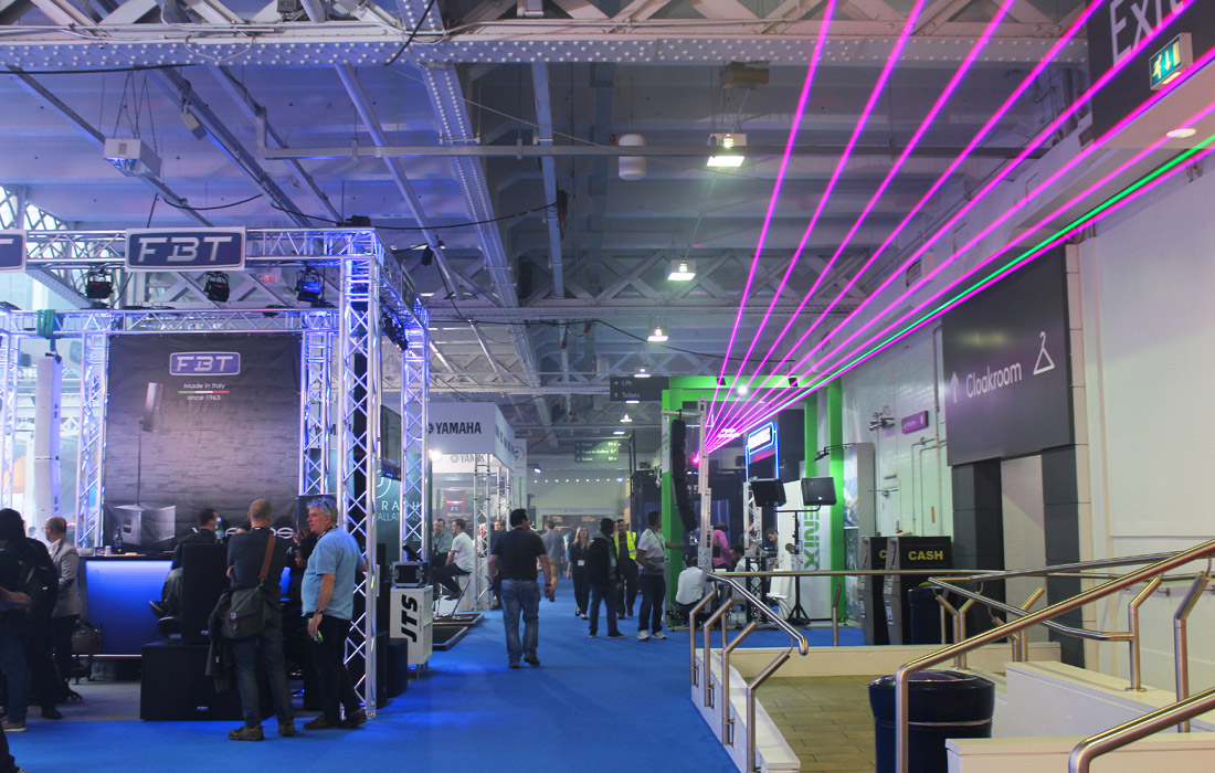 An impressive laser panning from one side of the exhibition hall, to the other.