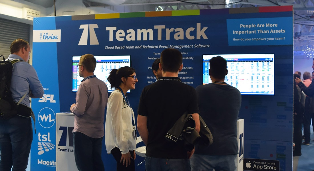 We checked TeamTrack's stand, who recently created an integration with us.