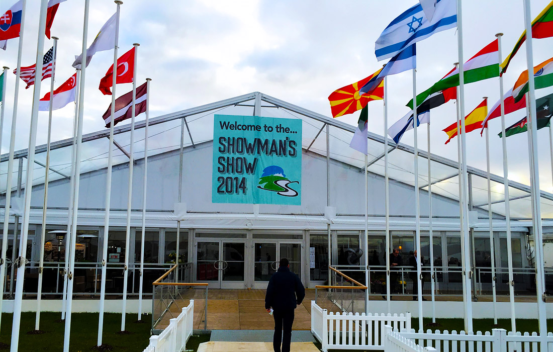 The entrance to a busy two days full of exciting event products on display at The Showman's Show.