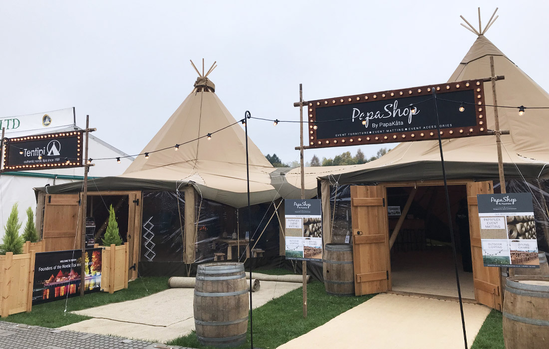 Traditional Tentipis and PapaKata tipis on display