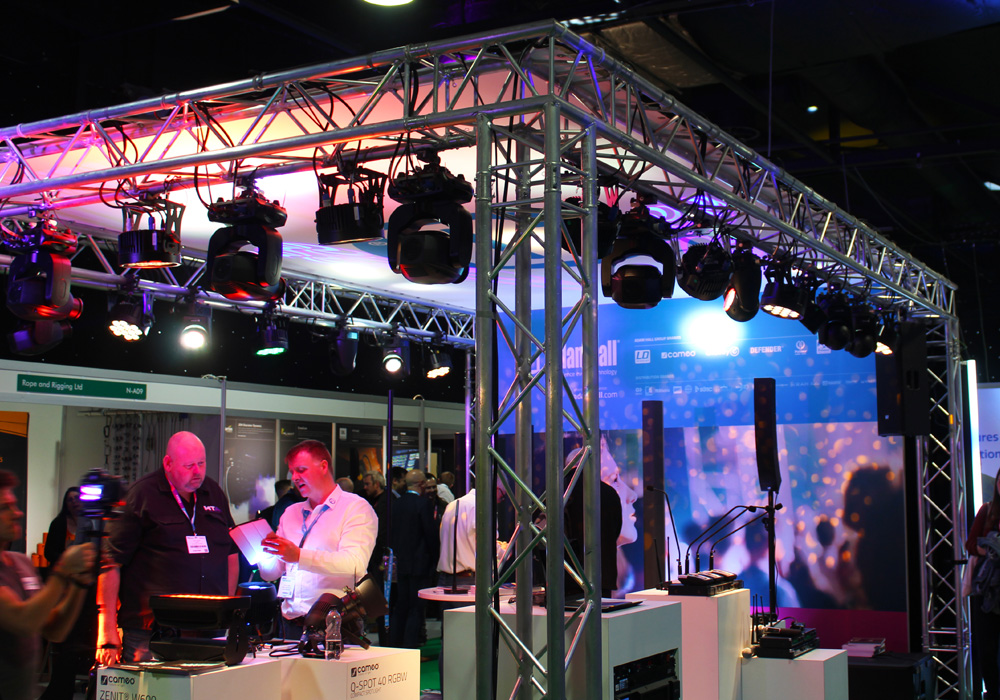 Rigging and lighting equipment at PLASA Leeds 2018