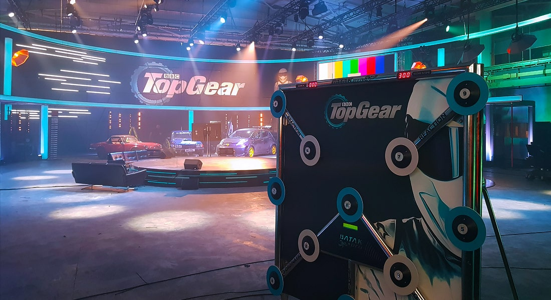 Xtreme Vortex setting up Batak Lite Reaction Game Hire in the Top Gear studio