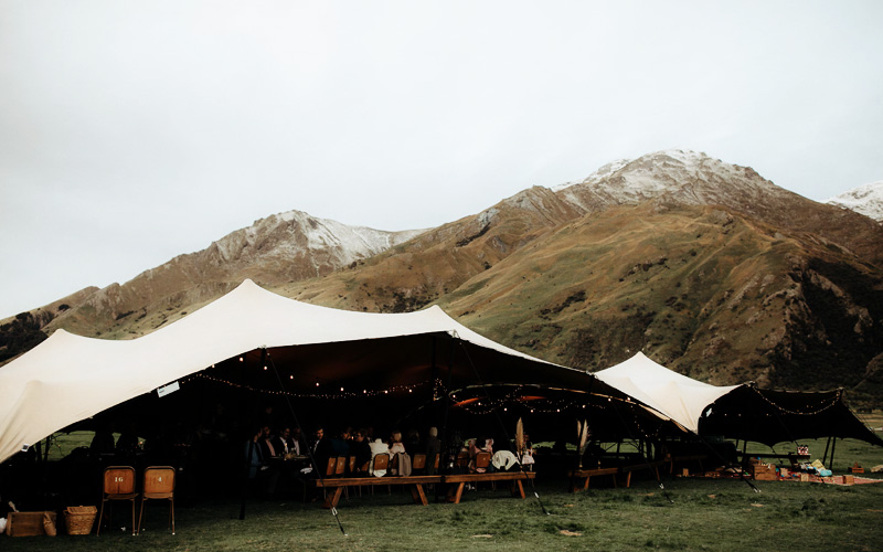 A beautiful stretch tent provided by Schupepe Tents in the heart of New Zealand