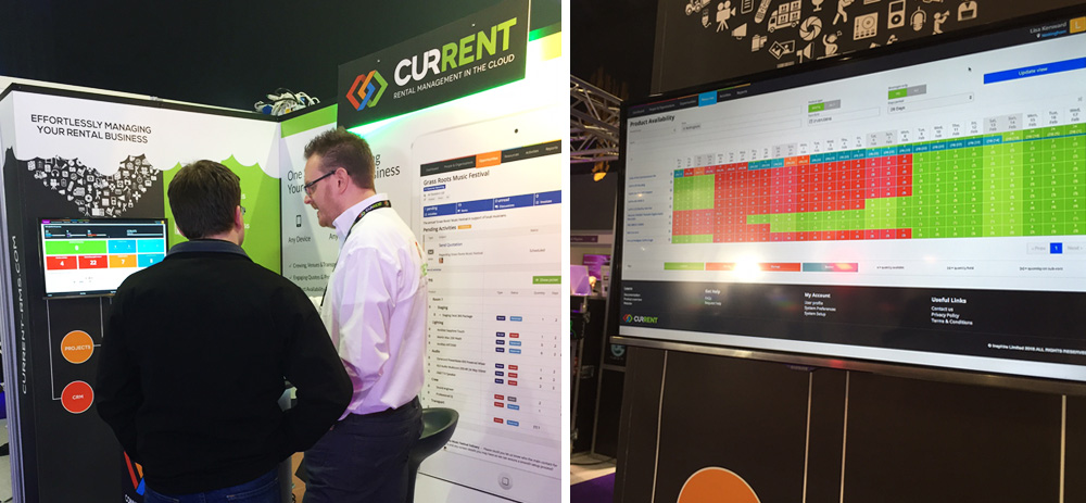 Left: Chris demonstrating the system to a customer. Right: Availability Screen