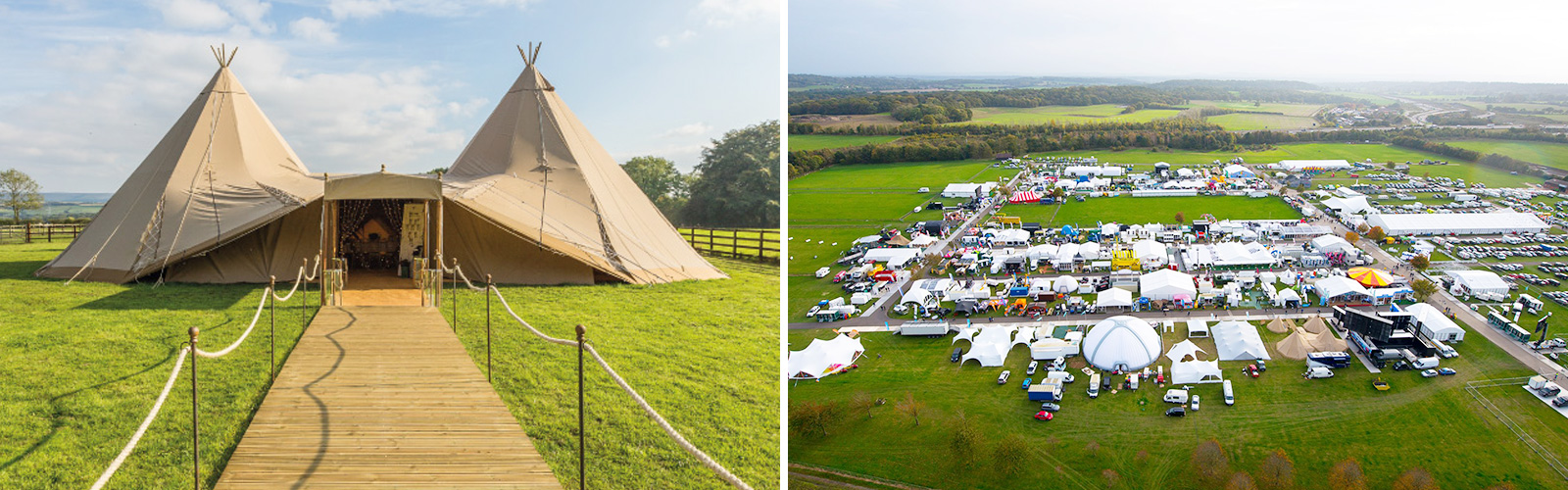 Campfire Sessions tent and Aerial view of showmans show grounds
