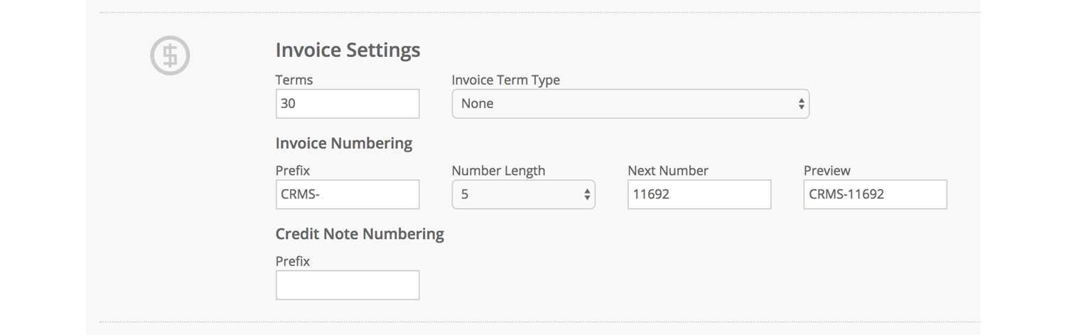 Customise opportunity and invoicing numbers