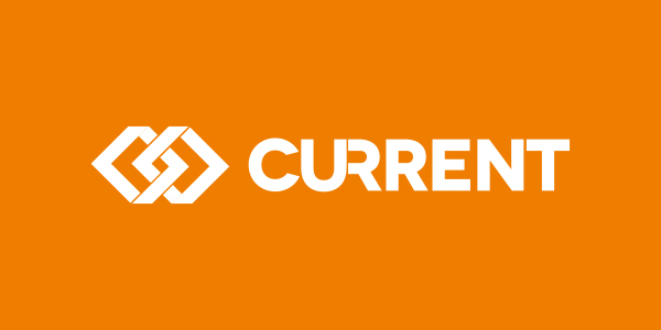 Current RMS brand over a orange background
