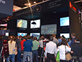 The Canon booth busy when demoing their projectors.