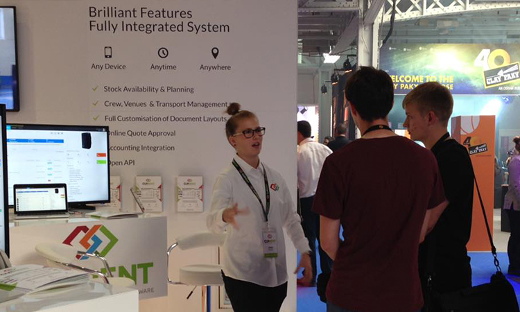 Leigh chatting with attendees at PLASA London.