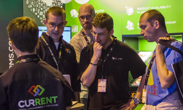 Chris Hilton offering a demo of the system at the PRO Show 2014 - online rental software.