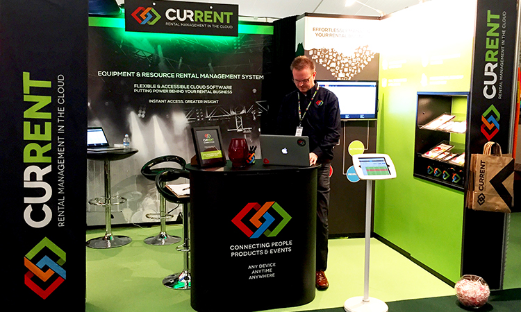 Chris Branson, CEO and founder of Current RMS getting ready for the show.